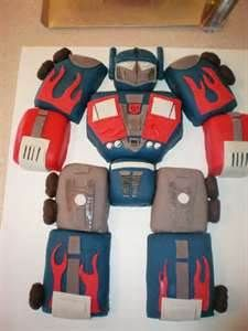 transformers birthday cake - make with GF pound cake in mini loaf pans