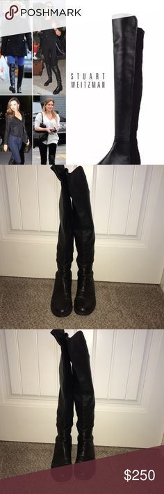 """Stuart Weitzman 50/50 over the knee boots napa 8 An iconic over-the-knee boot in supple leather is fitted with a stretchy back panel for a sleek, comfortable fit that adjusts perfectly to your silhouette, making this wardrobe-staple style a favorite among editors, stylists and celebrities22 1/2"""" shaft; 12"""" - 15"""" calf circumference. Pull-on style Synthetic and leather upper/textile and leather lining/rubber sole. Size 8 black Napa gently been worn as u can see still in great condition Stuart…"""