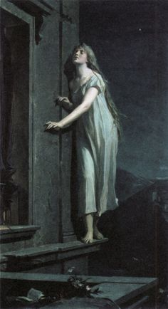 Sleepwalker. Maximilian Pirner, 1878. My mother has told me that when she was a sleepwalker for a certain period during her childhood. Her father once caught her walking in her sleep on top of the brick wall in their garden. He dared not wake her for fear that she might loose her balance, so he just watched her untill she climbed down and returned to her bed.