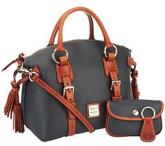 31e56d220b Dooney  amp  Bourke DARK GREY Pebble Leather DOMED SATCHEL w Accessories  NWT!
