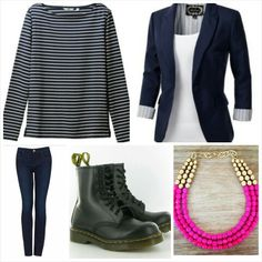 My type of outfit The boots give it an edgy look & The necklace gives it a pop of colour