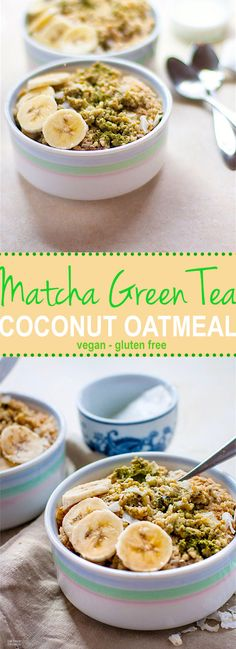 A gluten free and vegan friendly breakfast to POWER you through the day. Healthy matcha green tea paired with creamy coconut milk, gluten free oatmeal, and coconut flakes to make one nourishing bowl of goodnes Coconut Oatmeal, Vegan Oatmeal, Gluten Free Oatmeal, Vegan Gluten Free, Coconut Milk, Dairy Free, Paleo, Smoothie Recipes For Kids, Tea Recipes