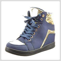 Sopily - damen Mode Schuhe Hohe golden glänzende - Blau WLD-12-YD-1 T 41 - Sneakers für frauen (*Partner-Link)