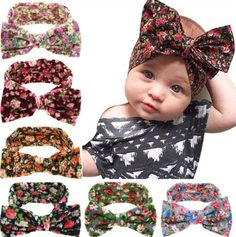 Baby Girl Hair Bows Headbands Accessories Knot Turban Headwraps for Toddlers (Big Bows 6PCS)
