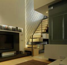 furniture integrated to loft steps. double level luxury living by daniel scerri periti