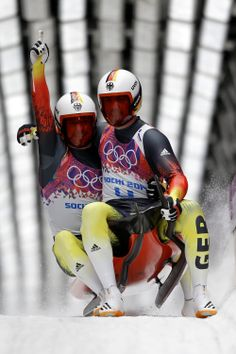 Tobias Wendl (front) and Tobias Arlt of Germany celebrate after completing their second run during the Men's Luge Doubles (c) Getty Images Olympic Winners, Youth Olympic Games, Bobsleigh, Luge, Olympic Athletes, Winter Games, Winter Olympics, Germany, Baseball Cards