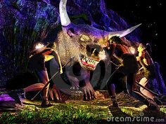 Fantasy scene at night. Three prehistoric men force a monster in the hollow of a rock by using torches and lances