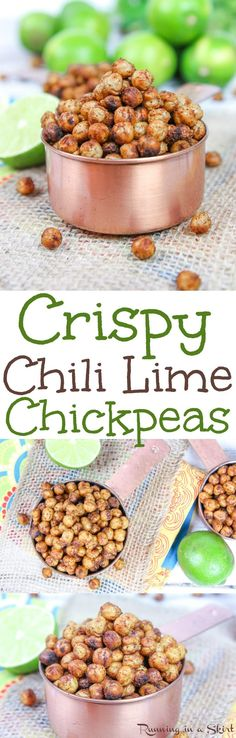 Healthy Chili Lime Crispy Chickpeas recipe - the perfect spicy snack! Oven roasted on a pan with olive oil and spices - includes a trick to actually get them crunchy! Vegan & gluten free / Running in a Skirt Superfood Recipes, Chickpea Recipes, Vegetarian Recipes, Healthy Recipes, Free Recipes, Vegan Snacks, Healthy Snacks, Healthy Eating, Coffee Break