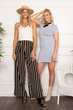 Striped Trousers Featuring High Waist Design for Beautiful Tall Women Who  Love Looking and Feeling Their ed49ab912