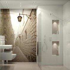 Effective wall and room design with photo wallpaper Hand Made , Effektvolle Wand- und Raumgestaltung mit Fototapete small modern bathroom with mural wallpaper & # small alley & # & # and sho. Room Design, Small Bathroom, Modern Bathroom, Wall Wallpaper, Small Bathroom Organization, Bathroom Decor, Bathroom Wallpaper, Modern Bathroom Design, Small Bathroom Decor