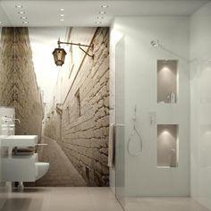 Fototapeta w łazience - spójna z resztą wystroju kolorystyka oraz nadanie przestrzeni głębi :)