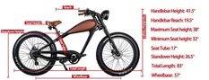 [+ FREE FENDERS] CIVI Bikes (REVI Bikes) Cheetah - The Cafe Racer Cruiser Fat Tire Electric Bike - EbikeVault Retro Motorcycle, Motorcycle Design, Battery Indicator, Thing 1, Brake Rotors, Brake Pads, Looks Cool, Cheetah, Fat