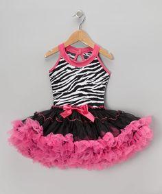 Love this Black & Hot Pink Zebra Pettiskirt Dress - Kids on #zulily! #zulilyfinds