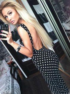 Backless Polka Dot Party Bodycon Dress E282