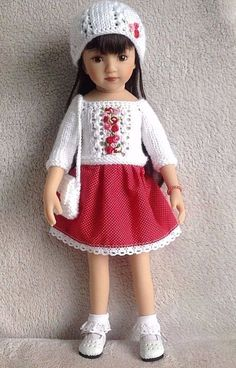 """Handknitted outfit for 13"""" dolls Dianna Effner Little Darling,Betsy McCall,MARU #DiannaEffner"""