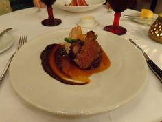 Beer marinated filet of beef, potato and bacon terrine, asparagus, plum puree @ Restaurant 1621
