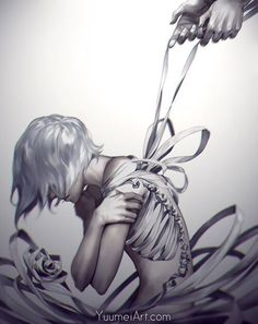 "yuumei-art: "" My hopes, my fears My joys, my tears These delicate knots All tied up Loose to the touch Tethered to such Fragile existence You closed the distance And pulled Until all that I have And. Art Manga, Anime Art, Yuumei Art, Photo D Art, Come Undone, Arte Horror, Wow Art, Simple Backgrounds, Comic Artist"