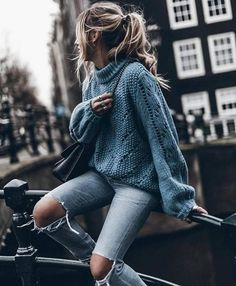 New Blue Cut Out Round Neck Long Sleeve Casual Sweater - Abroad Outfits - Hipster Outfits, Casual Outfits, Black Outfits, Cute Winter Outfits, Spring Outfits, Cute Outfits, Autumn Outfits, Christmas Outfits, Work Outfits