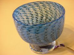 Swedish Boda blue cased and blown glass footed circular bowl - Foxhouse Fine Art | Selected Works of Art, Ceramics & Glass, Jewellery & Pict...