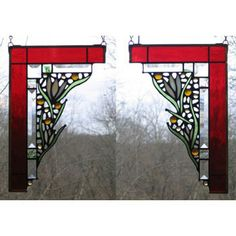 Edel Byrne Ruby Medium Floral Corner Pair Stained Glass Panels, Artistic Artisan Designer Window Panels