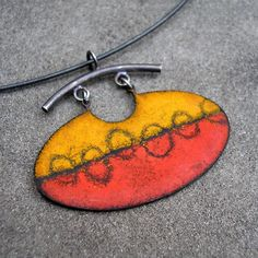 Enamel Pendant  Enamel Necklace  Red Orange Black by lsueszabo The enamel is fired multiple times in the kiln, stenciled and sgraffito'ed.