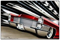 """Kandy Slam'd Fins"" Custom 1965 Cadillac Artwork. Prints available at PinstripeChris.com/kandyslamdfins"
