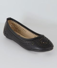 Love this Black Cutout Flat by Anna Shoes on #zulily! #zulilyfinds