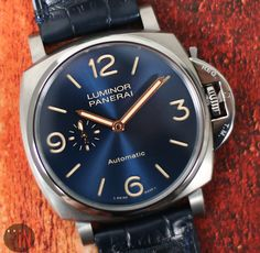 """Vibrant Hues!"" Panerai 45mm Luminor Due 3 Days Titanium Ref#: PAM 729 * Blue Sandwich Dial xxx/500 LTD ED http://www.elementintime.com/Officine-Panerai-Luminor-Due-3-Days-PAM-729-Titanium-Blue-Sandwich-Dial-45mm"