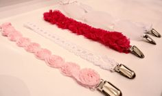 DIY No-sew Pacifier Clips: Pacifier clips can be so easy and cute to make.  All you need is suspender mitten clips, glue gun, velcro tape, 12-inch long ribbon (love these cute ribbons she found), and beads, lace, or anything else to make it cute :)