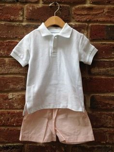 2 Piece Set: Boys White Sport Polo Pique Shirt & Orange/White Striped Seersucker Shorts by Lambs in Ivy Basics - SO cool and comfy for Summer