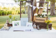 Vintage / rustic / guest book / wooden crates / vintage suitcase / timber / bunting