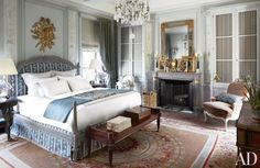 Michael Smith architectural digest finds inspiration in the savoir faire of century France circa 1805 aubusson bedroom. Decor, Traditional Bedroom, Home, Elegant Bedroom, Chandelier Bedroom, Bedroom Design, Dreamy Bedrooms, Blue Bedroom, Blue Bedroom Design