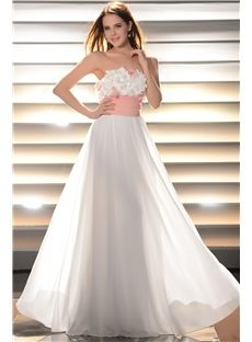 Gorgeous Floor-Length A-Line Strapless Flowers Prom Dress