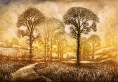 Etching from Jardine Gallery - Ian MacCulloch Illustration and Printmaking artist Landscape Art, Landscape Paintings, Tree Paintings, Landscape Prints, Linocut Prints, Art Prints, Print Artist, Tree Art, Painting & Drawing
