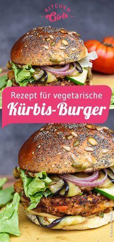 Recipe for vegetarian pumpkin burger - Rezepte - Sandwich Recipes Pumpkin Recipes Vegetarian, Vegetable Recipes, Vegan Recipes, Burger Recipes, Salmon Recipes, Meatloaf Recipes, Sandwich Vegan, Cake Vegan, Dinner Sandwiches