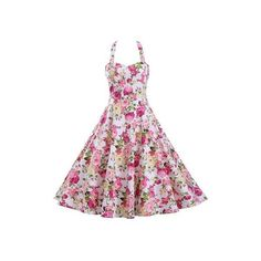 Rotita Flower Print Open Back A Line Dress ($29) ❤ liked on Polyvore featuring dresses, pink, white sleeveless dress, halter dress, pink halter dress, white floral dress and floral halter dress