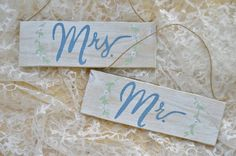 CUSTOM COLOR Mr. and Mrs. Chair Signs  Original by SeasideLane