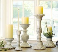 Leah Candle Holders #potterybarn have these. They are gorgeous but larger than I expected. Should have measured.
