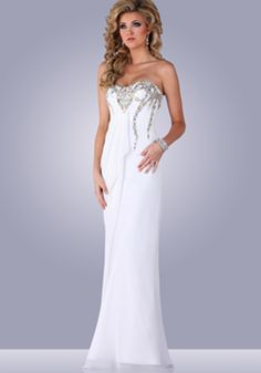 Sheath/ Column Scoop Floor Length Chiffon Natural Waist Evening Dress With Beading - 1300306215B - US$199.99 - BellasDress