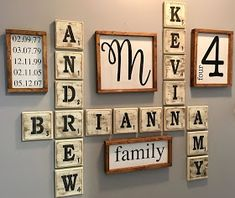 MarksvilleandMe: Family Wall Art – do pallet Scrabble Wand, Scrabble Tile Wall Art, Family Wall Decor, Family Wall Collage, Diy Wall Art, Name Wall Art, Hallway Decorating, Home Remodeling, Farmhouse Decor