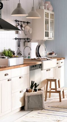 """white """"stat"""" cabinets from ikea HAVE that kid stool- awesome!! #wainscoting, AccentHaus.com"""