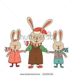 Christmas card with happy family rabbit. Father and kids. Vector linear color illustration