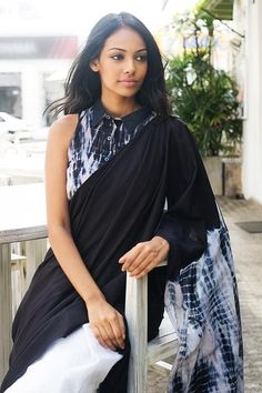 This is inspired by the waves of the ocean. This 100% cotton saree is tie dyed to get the wave effects. This saree has a tie dye jacket to give a modern look. Suitable to wear for a special occasion at day or night time and best worn with minimal jewelery. These sarees have individual variations from the photo due to the tie dye methods
