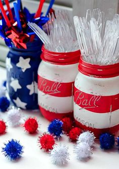 Red, white and blue mason jars are perfect for your 4th of July party.
