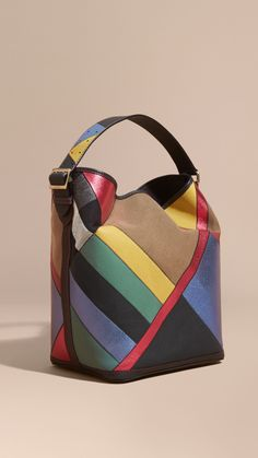 Burberry -- The Medium Ashby in Patchwork Canvas Check and Leather Teal Blue Fashion Handbags, Purses And Handbags, Fashion Bags, Leather Purses, Leather Handbags, Leather Bag Pattern, Patchwork Bags, Leather Projects, Burberry Handbags