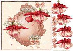 Floral fuschia card on Craftsuprint designed by Marijke Kok - Floral design with gorgeous fuschias...beautiful! - Now available for download!