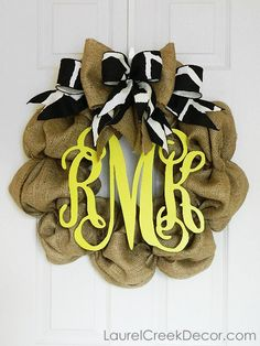 3 Letter Monogram Burlap Wreath with Bow - Perfect Year Round Front Door Wreath. $115.00, via Etsy.