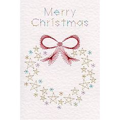 Wreath Merry Christmas | Christmas patterns at Stitching Cards.