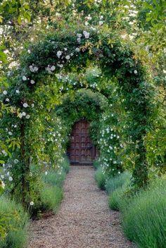 Garden door with archways of roses