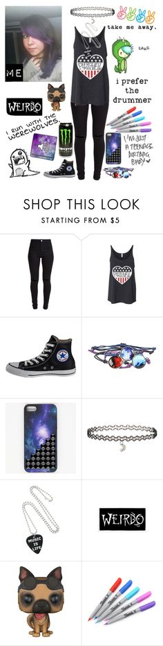 """I dyed my hair purple"" by emmcg915 ❤ liked on Polyvore featuring New Look, Converse, Miss Selfridge, Ellington, Funko and Sharpie"